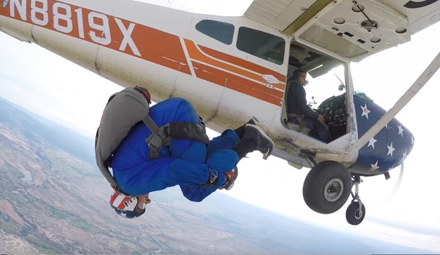 skydiving student flips in skydiving in colorado